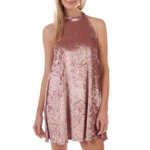 NWT Nordstrom Blush Velvet Halter Shift Midi Dress